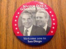 "3"" 1996 Republican National Convention Button Bob Dole Pete Wilson San Diego"