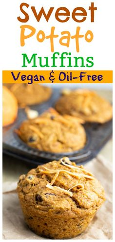 Fluffy and moist sweet potato batter swirled with apple sauce, raisins and cinnamon makes a dozen muffins that are packed with beta carotene and fiber. These vegan Sweet Potato Muffins are a welcome addition to any breakfast! Make ahead of time and freeze for quick breakfasts on the go! #sweetpotatomuffins #veganbreakfastmuffins #veganmuffins