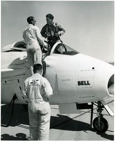 "Bell company test pilot Jean Leroy ""Skip"" Ziegler standing in the cockpit of a Bell X-5 on February 19, 1953. 