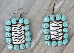 Presidio Turquoise and Zebra Square Earrings  $29.95  http://www.giddyupglamouronline.com/catalog.php?item=7208