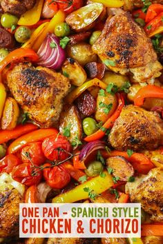 This quick and simple Spanish Chicken with Chorizo recipe really delivers on flavour and only one pan to wash up! The perfect family dinner tray bake. Quick Dinner Recipes, Quick Meals, Simple Cooking Recipes, Quirky Cooking, Spanish Chicken And Chorizo, Spanish Chicken And Potatoes Recipe, Spanish Chorizo Recipes, Chorizo And Potato, One Pan Dinner