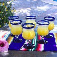 Collectible Handblown Glass Wine Goblets Drinkware Set of 6 - Spring