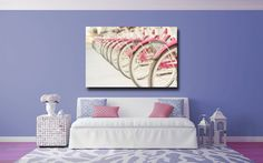 Pink Wall Art Large Canvas Wrap Girl's Room by AmyTylerPhotography