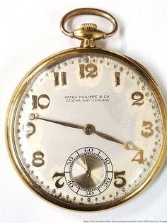 4ec53a48a 1930s Art Deco Patek Philippe Mens Pocket Watch 18k Gold w Hidden Hinge 18J  #PatekPhilippe