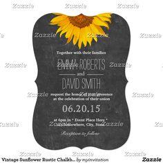 Vintage Sunflower Rustic Chalkboard Wedding Card