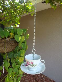 tea cup bird feeder, such a cute idea!  There are so many hummingbirds nearby, I'd love to keep them around!