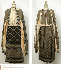 Exhibited at The Metropolitan Museum of Art Historical Costume, Historical Clothing, Folk Embroidery, Embroidery Ideas, Fashion Art, Vintage Fashion, Period Costumes, Vintage Style Dresses, Folk Costume