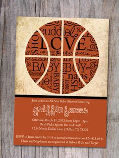 Basketball Baby Shower Invitation by PinchOfSpice on Etsy, $15.00