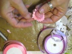 No sew shabby chic crinkled seam binding ribbon flowers tutorial to use in your scrapbook DIY - YouTube