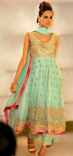 Anarkali dress is the most traditional and most liked by women in the parties. I have attached some of the pictures of anarkali dresses for you to see and get some idea how it. Pakistani Couture, Indian Couture, Pakistani Outfits, Indian Outfits, Indian Attire, Indian Wear, Saris, Anarkali Frock, Anarkali Churidar