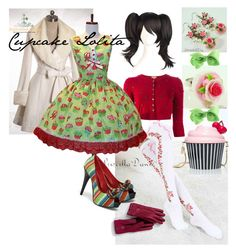 """""""Cupcake Lolita"""" by lakereflection ❤ liked on Polyvore featuring Sweet & Co., Lands' End, P.A.R.O.S.H., Kate Spade and Pinup Couture"""