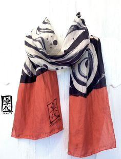 Hand Painted Silk Scarf Zen Wave Red Silk by SilkScarvesTakuyo, $45.00