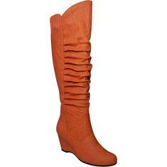 Stay simple and stylish with this round toe tall boot. It features tulip top opening, hidden heel, and ruffled upper. Available Colors: Black, White, Grey, Orange, Nude, Mustard. $51.88