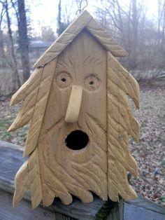 Birdhouse, wood spirit naive carvings, folk art bird house
