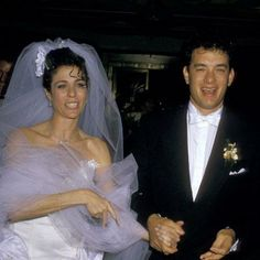 Tom Hanks and Rita Wilson at their wedding, 1988