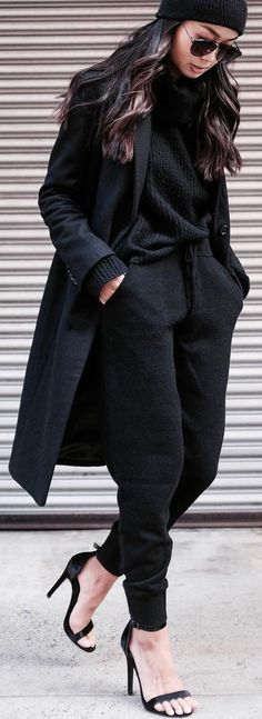 #winter #fashion / Black Beanie / Black Pants / Black Sandals / Black Turtleneck