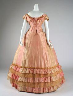 Dress: ca. 1866-1868, American, silk.