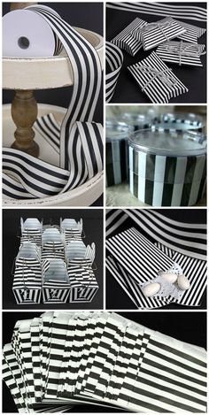 Black & White Striped accents for our Halloween with Tim Burton Party:  ribbon, boxes and treat bags.  The devil is in the details!