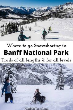 Where to go snowshoeing in Banff National Park - 15 trails to choose from covering all abilities and levels; some of these outings become winter walks with icers when the snow cover is thin #Snowshoeing #BanffNationalPark #Banffsnowshoeing #winterfun #alberta #albertasnowshoeing Adventure Tours, Adventure Travel, Banff National Park, National Parks, Sunshine Village, Canadian Travel, Park Trails, Visit Canada, Where To Go
