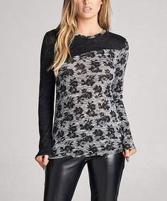 Love this Gray & Black Floral Contrast Top on #zulily! #zulilyfinds