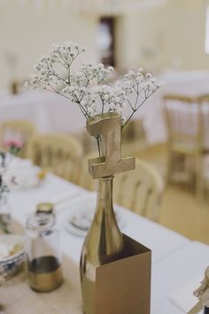 Gold Table Number Vintage Village Hall Steam Railway Light Home Made Wedding http://www.scuffinsphotography.com/