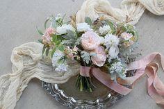 Blush Pink Bridal Bouquet Garden Style Hand Tied Silk and Bridal Bouquet Pink, Flower Bouquet Wedding, Pink Silk, Blush Pink, How To Preserve Flowers, Bridezilla, Pink Champagne, Garden Styles, Silk Flowers