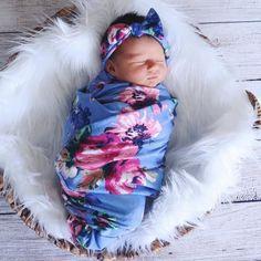 Sky Flowers Swaddle Blanket and Headband Set