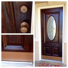 Refinished A Honey Oak Front Door With Java Gel Stain, 2 Coats Satin Poly U0026  Painted The Kick Plate And Door Knob With Rustoleum Metallic Spray Paint In  Aged ...