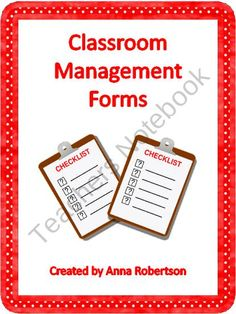 Classroom Management Forms from Teach, Learn, & Love on TeachersNotebook.com (9 pages)  - A set of 6 forms that help you manage any classroom