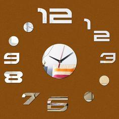 3d acrílico relógios de parede espelho adesivos relógio sala de arte digital de quartzo relógios apressado novidade home decor frete grátis alishoppbrasil