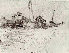 Vincent van Gogh: Road with Telegraph Pole and Crane  Arles: c. 13 August 1888 (Amsterdam, Van Gogh Museum)