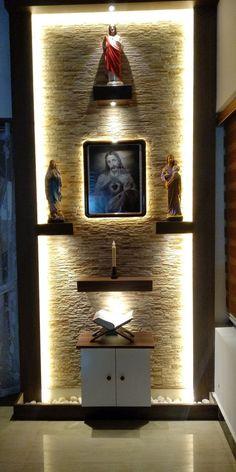 Living Room Partition Design, Pooja Room Door Design, Room Partition Designs, Home Room Design, Home Altar Catholic, Temple Design For Home, Altar Design, Prayer Corner, Wall Art Wallpaper