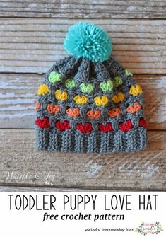 Crochet this easy puppy love heart stitch rainbow kids child hat from Whistle & Ivy from my winter kids hats free pattern roundup!