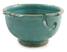 Anthony Stoneware Handmade Yarn Bowl, Teal Green