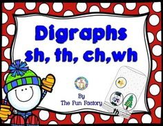 Phonics/Beginning Digraphs:These activities/games are great to use as a small group lesson for practicing digraphs or independent practice used within a word work/abc center.This digraph packet includes eight activity/games, and a fun, interactive practice page for the digraphs sh, th, wh, and ch, as well as, a colorful classroom poster.