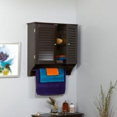 Wall Storage Cabinets 2-Door Bathroom Organizer Cabinet Home Furniture Espresso #WallStorageCabinets #Traditional