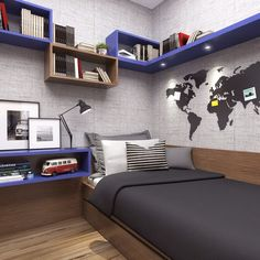 Browse modern-day bedroom embellishing ideas as well as formats. Discover bedroom concepts as well as design ideas from a range of minimal bedrooms, consisting of shade, decoration as well as design. Small Room Bedroom, Trendy Bedroom, Small Rooms, Dream Bedroom, Home Bedroom, Bedroom Decor, Box Room Bedroom Ideas, Small Boys Bedrooms, Boys Bedroom Paint