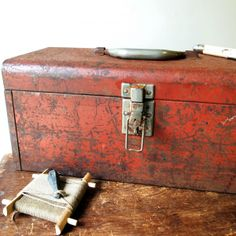 Rustic Red Metal Toolbox via Goot Dings