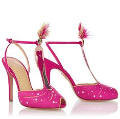 Dress from the feet up! This is what I've got my eye on from Charlotte Olympia eu size) Designer Sandals, Girls Sandals, Pink Shoes, Showgirls, Charlotte Olympia, Shoe Sale, Designing Women, Pretty In Pink, Hot Pink