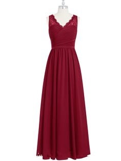 Burgundy Long Chiffon Bridesmaid Dress Party Dress