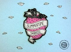 Hand embroidery / Patch  SUMMERTIME SADNESS  Strawberry #hand #embroidery #patch #handmade #patch