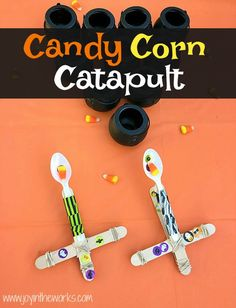 The perfect Halloween STEM activity is a Candy Corn Catapult! Even better? Try launching the candy corn, eyeballs and mini-pumpkins into cauldron targets! Classroom Halloween Party, Halloween Party Games, Halloween Kids, Halloween Snacks, Halloween Crafts, Happy Halloween, Fun Fall Activities, Stem Activities, Candy Corn