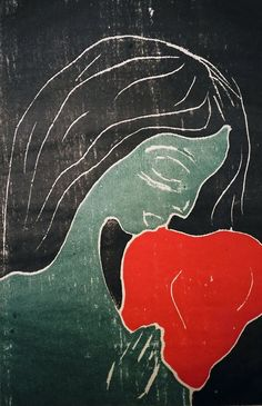 Heart, woodblock print but Edvard Munch Edward Munch, Art For Art Sake, Kandinsky, Art Plastique, Famous Artists, Henri Matisse, Beautiful Paintings, Art Images, Printmaking