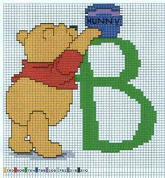 Borduurpatroon Kruissteek Winnie the Pooh Alfabet *Cross Stitch Pattern Winnie the Pooh Alphabet ~B~