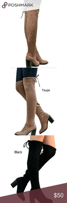 """Thigh high boots New suede thigh high boots with tie, 3"""" heel. 2 colors available! So soft and stretchy! New in box Shoes Over the Knee Boots"""