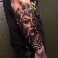 Realistic Medusa Head With Snakes Tattoo On Sleeve