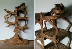 A handmade cat tree with a design inspired by a real tree. The abstract branches support carpeted platforms, creating a functional piece of art that cats can climb and perch on. Each one is made to order, so the wood sides can be stained or painted any color and you can get carpet to match.