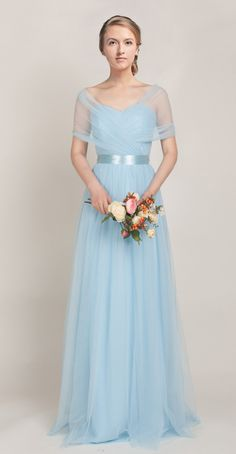 Tulle Convertible Medium light blue Multi Bridesmaid Dresses