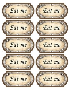 Alice in Wonderland eat me tags Mad Hatter tea Alice In Wonderland Invitations, Alice In Wonderland Tea Party, Mad Hatter Party, Mad Hatter Tea, Mad Hatters, Queen Of Hearts Card, Anniversaire Harry Potter, Tea Party Birthday, Party Time
