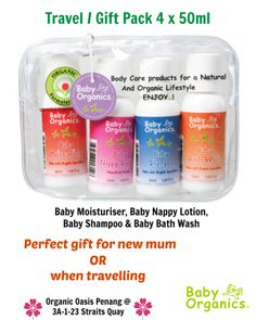 Travel / Gift Pack is the perfect gift for a new mum to try the most popular products or to take on the road or when travelling.  It includes handy 50ml sizes of Baby Bath Wash, Baby Shampoo, Baby Moisturiser and Baby Nappy Lotion.